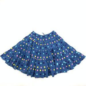 Mini Boden Blue Polka Dot Corduroy Circle Skirt